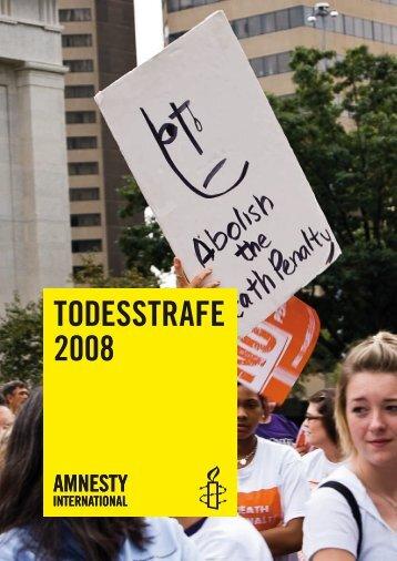 """Zusammenfassung """"Todesstrafe 2008"""" - Amnesty International"""