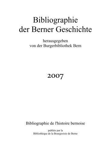 Bibliographie der Berner Geschichte - Universitätsbibliothek Bern