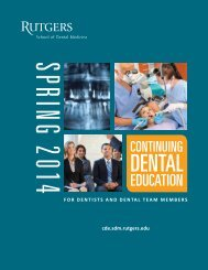 Fall 2013 CDE Catalog - Rutgers School of Dental Medicine