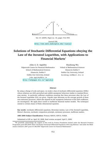 Solutions of Stochastic Differential Equations obeying the Law of the ...