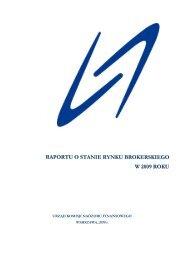 Raportu o stanie rynku brokerskiego w 2009 r. - Komisja Nadzoru ...