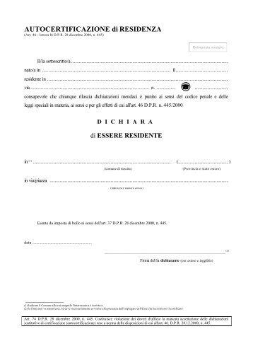 AUTOCERTIFICAZIONE di RESIDENZA - Comune di Campobello di ...