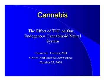 Cermak - Cannabis - California Society of Addiction Medicine