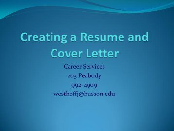 Effective Resumes and Cover Letters - Husson University