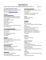INDIAN SPRINGS SCHOOL SUPPLY LIST 2010 - 2011 ALL ...