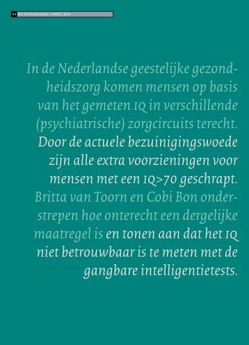 In de Nederlandse geestelijke gezond- heidszorg ... - Apollo Praktijk
