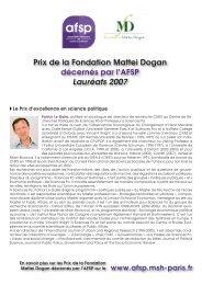 s des prix 2007 - Association française de science politique