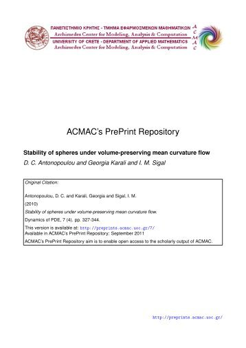 Download (313Kb) - ACMAC's PrePrint Repository