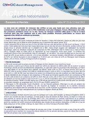 12/08/2013 Lettre hebdomadaire d'économie et marchés La zone ...