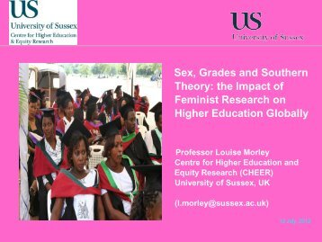 Sex, Grades and Southern Theory: the Impact of Feminist Research ...