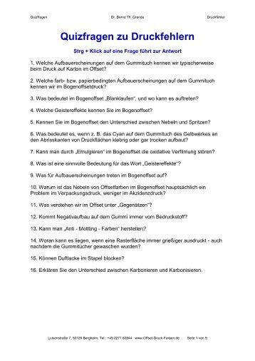 Fragen 5+6 Oberflächenphysik ud Offsetplatte - Offset-Druck-Farben