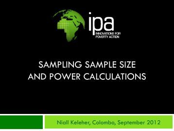 Sampling and Power (Presentation 1/5) - Innovations for Poverty ...