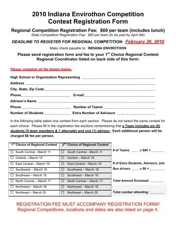 2010 Indiana Envirothon Competition Contest Registration Form