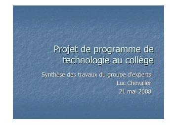 Presentation ProjetProgrammesTechnologie 21 mai