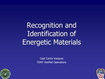 Recognition and Identification of Energetic Materials