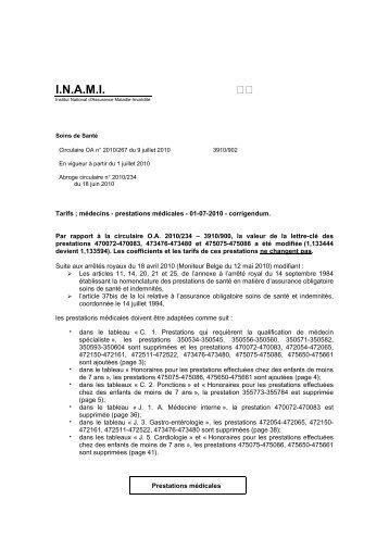 Tarifs des Médecins - A partir du 01/07/2010 - Inami