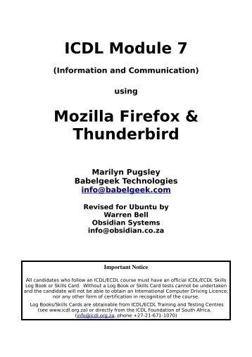 ICDL Module 7 Mozilla Firefox & Thunderbird