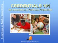 Credentialing 101 - Commission on Teacher Credentialing