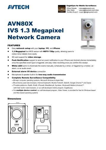 AVN80X IVS 1.3 Megapixel Network Camera