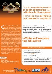 Vitrine de l'innovation 2013 - Présentation - Opticsvalley