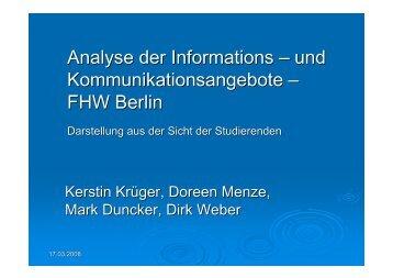 Analyse der Informations – und Kommunikationsangebote – FHW ...