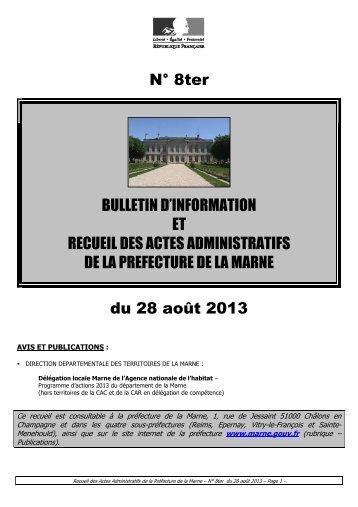 Recueil 8ter-2013 du 28 août - 5,03 Mb - Préfecture de la Marne
