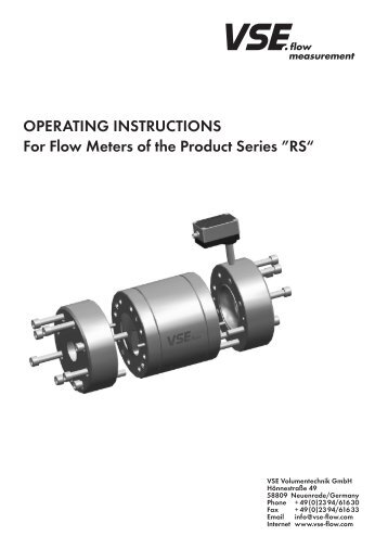 """OPEratING INStructIONS For Flow Meters of the Product Series """"rS"""""""