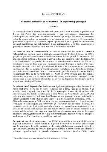 Les notes d'IPEMED, n°6 La sécurité alimentaire en Méditerranée ...