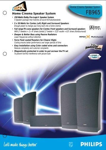 Home Cinema Speaker System - Philips