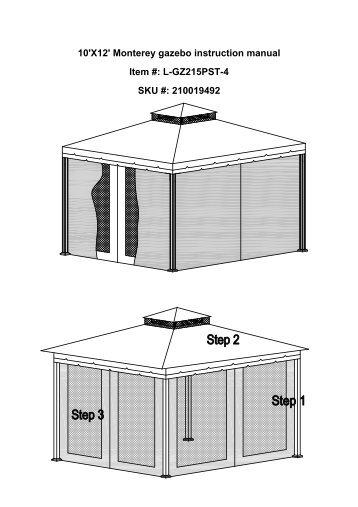 10X12 Monterey Gazebo Instruction Manual Item L