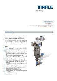 Automatikfilter AF 113 G - MAHLE Industry - Filtration