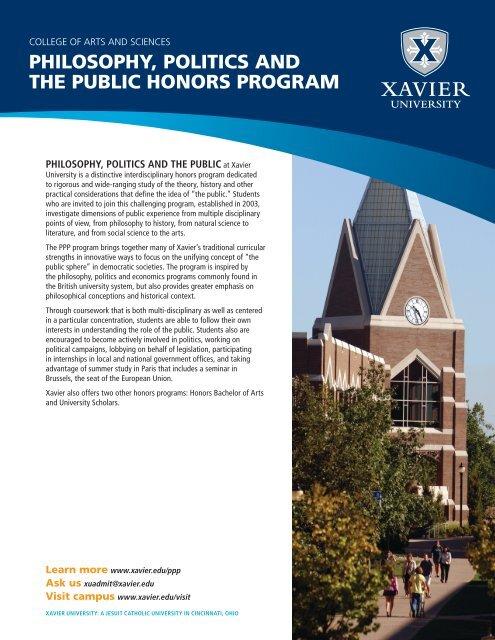 Philosophy, Politics and the Public Honors Program - Xavier University
