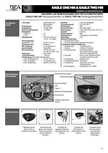 Bedienungsanleitung EAGLE ONE & TWO HM PDF - BEA Pedestrian