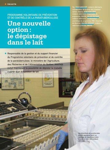 Paratuberculose - Une nouvelle option : le dépistage dans le lait