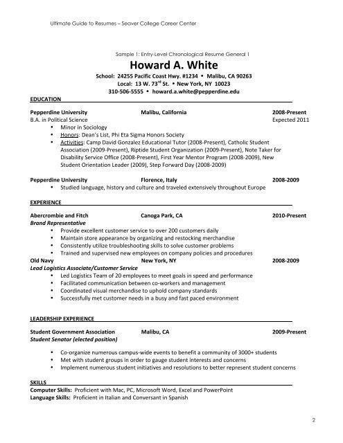 Resume Sample Guide (Entry-Level) - Pepperdine University