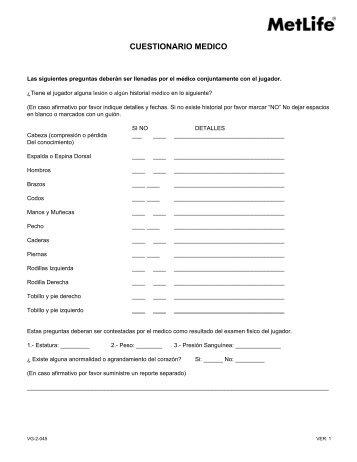 CUESTIONARIO MEDICO - MetLife
