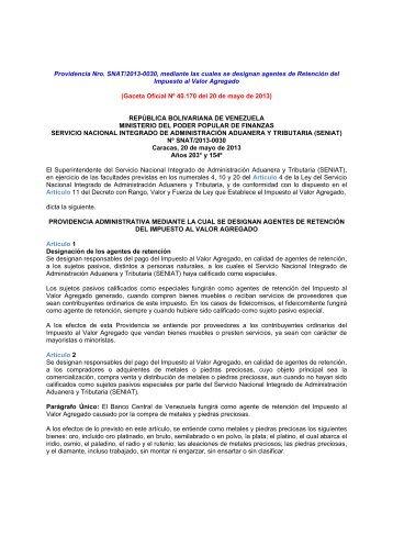 SENIAT Providencia Nº 0030 Agentes de Reatención ... - cpzulia.org