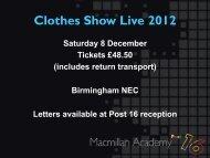 Clothes Show Live 2012 - Macmillan Academy
