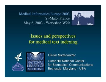Issues and perspectives for medical text indexing - Medical Ontology ...