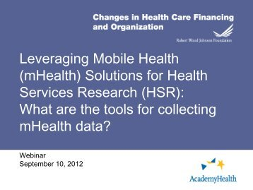 Leveraging Mobile Health (mHealth) - AcademyHealth