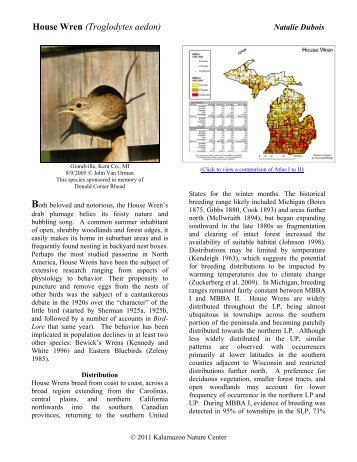House Wren - Michigan Breeding Bird Atlas Website