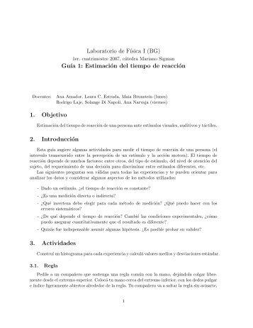 Laboratorio de F´ısica I (BG) Gu´ıa 1: Estimación del tiempo de ...