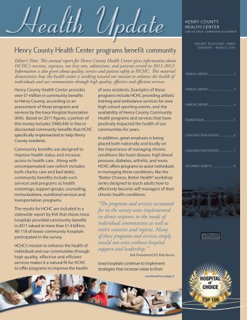 January-March 2013 - Henry County Health Center