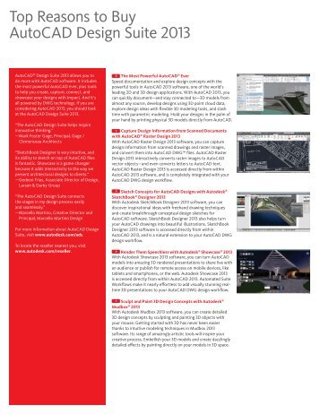 Top Reasons to Buy AutoCAD Design Suite 2013 - Ad-Tech Inc
