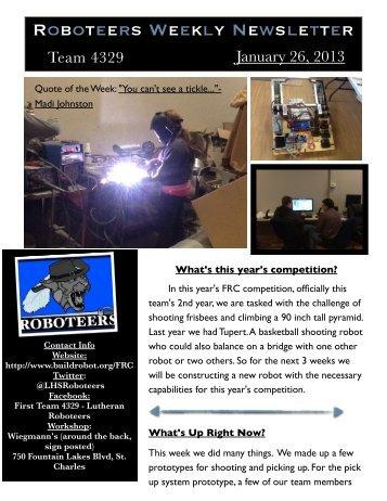 Roboteers Weekly Newsletter - Lutheran High School of St. Charles ...