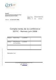 Compte-rendu de la conférence SSTIC - Rennes juin 2006 - Cert-IST