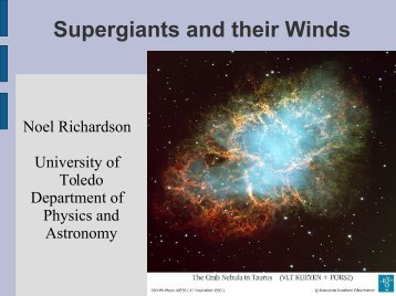 Supergiants and their Winds - Department of Physics and Astronomy