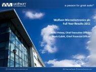 Conference Call Presentation - Wolfson Microelectronics plc