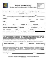 Re-Admit Application (Undergraduate) - Coppin State University