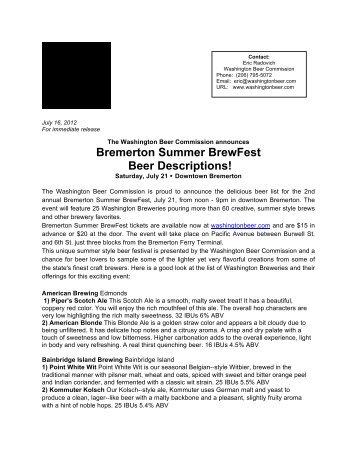 2012 Bremerton Beer List - Washington Beer Commission